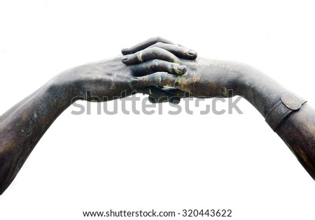 Hand connection of man and woman - stock photo