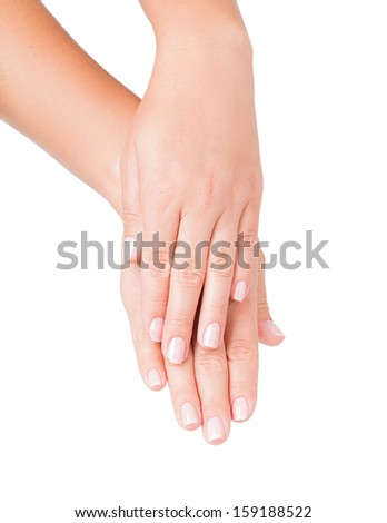 hand cosmetics isolated on white background - stock photo