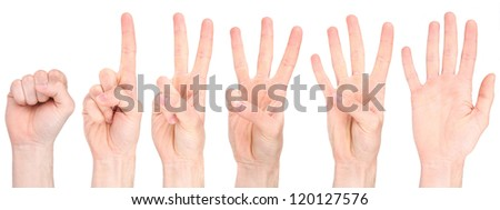 Hand counting collection - stock photo