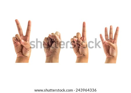 hand counting number two zero one four white background