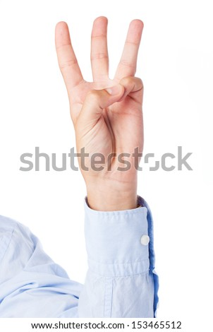hand counting three on a white background - stock photo