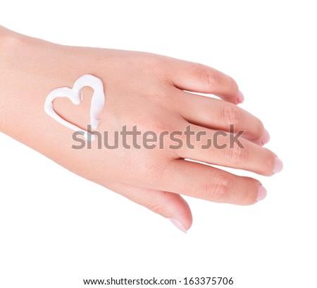hand cream isolated on white background - stock photo