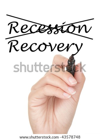 Hand crossing over recession and writing recovery on copy space on virtual whiteboard / screen. Easily replaced with your own text. Isolated on white background. - stock photo