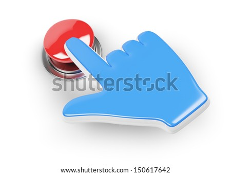 hand cursor and red button isolated on white background. 3d rendered image - stock photo