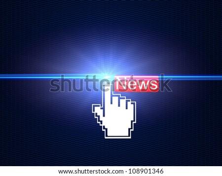 Hand cursor clicking on News - stock photo