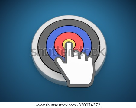 Hand Cursor Clicking the Center of Target - Success Concept - High Quality 3D Render - stock photo