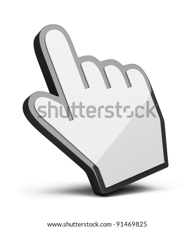 hand cursor. 3d image. Isolated white background.