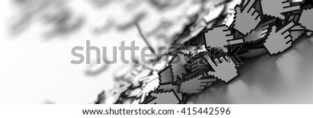 Hand cursor icon background, 3d render; internet concepts - stock photo