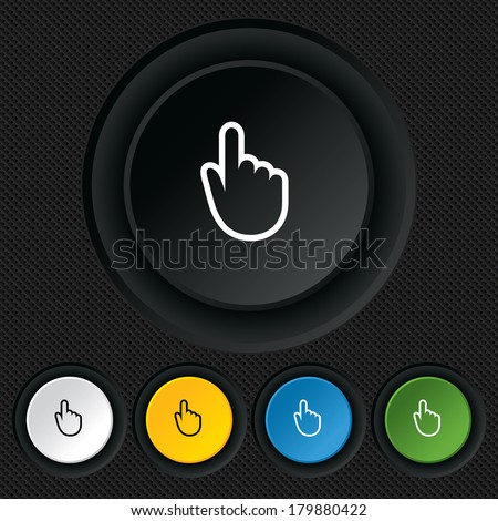 Hand cursor sign icon. Hand pointer symbol. Round colourful buttons on black texture.