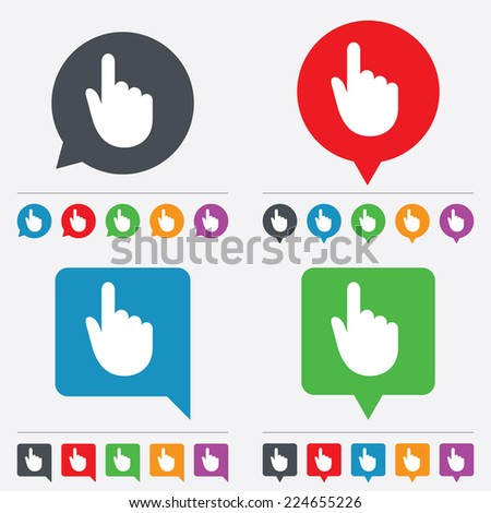 Hand cursor sign icon. Hand pointer symbol. Speech bubbles information icons. 24 colored buttons. - stock photo