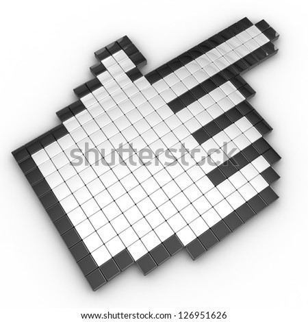 Hand cursors isolated over white - stock photo