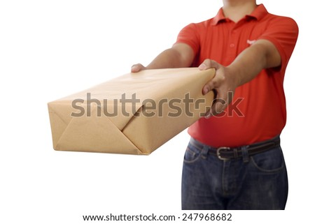 Hand deliver a package isolated over white background - stock photo