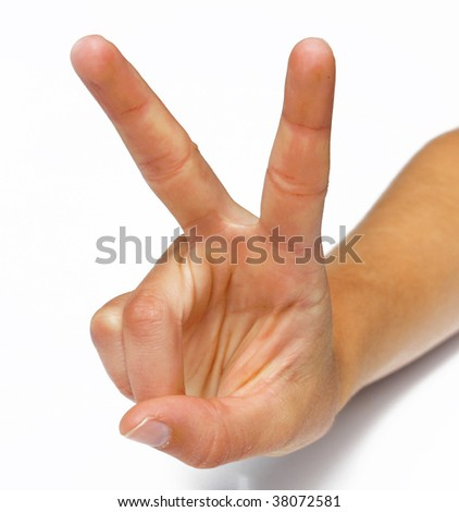 Hand doing peace sign - stock photo