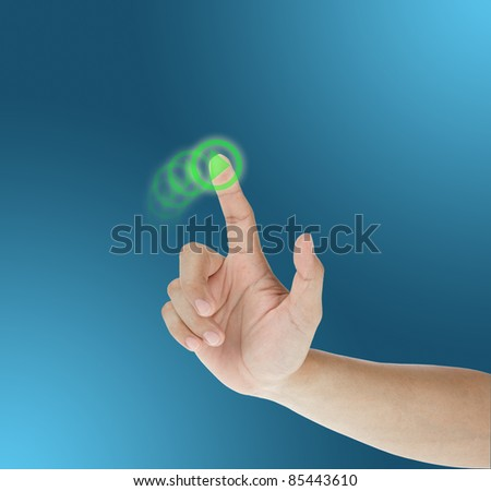 hand dragging on touch screen - stock photo