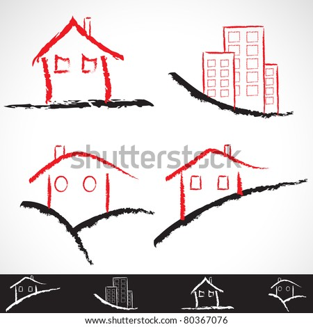 Hand-draw architecture home icon set. Vector version available in my gallery. - stock photo