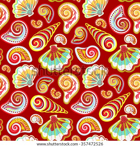 Hand draw colorful sea shells pattern. Seamless texture with hand painted oceanic life objects.  summer background