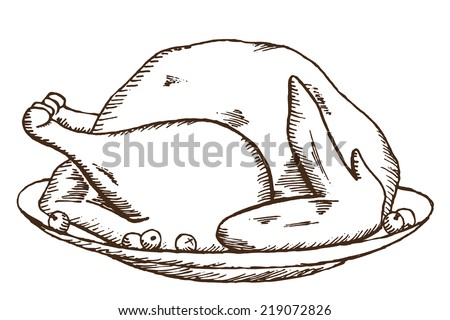 hand draw doodle sketch Thanksgiving fried turkey - stock photo