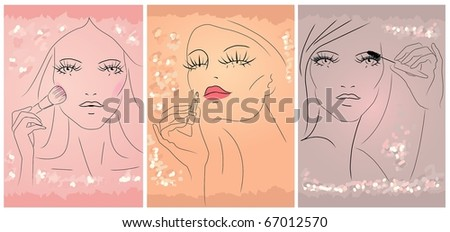 Hand draw Image of three woman apply makeup on her face. - stock photo