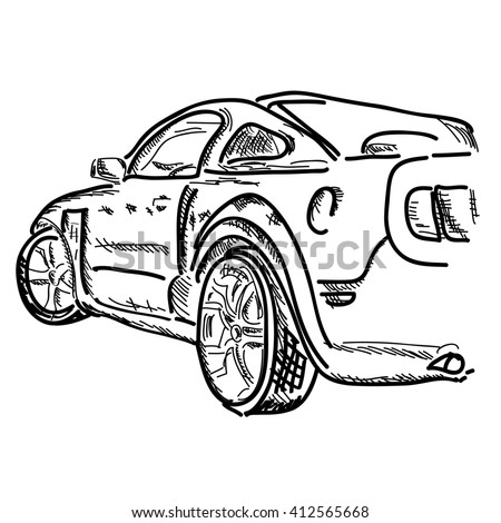 Hand Draw Simple Sketch Car Can Stock Illustration 412565668 ...