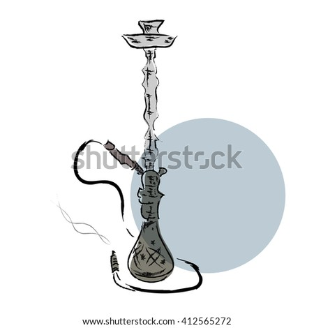 Hand draw sketch hookah - stock photo
