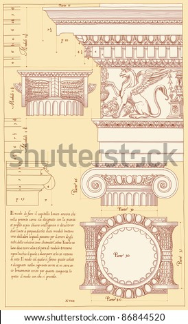 Hand draw sketch ionic architectural order. Bitmap copy my vector id 84067090 - stock photo