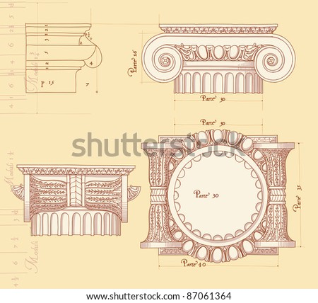 Hand draw sketch ionic architectural order. Bitmap copy my vector ID 84635953 - stock photo