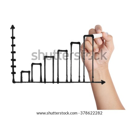 hand drawing a chart show - stock photo