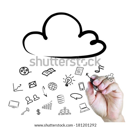 hand drawing a Cloud Computing diagram on the whiteboard  - stock photo