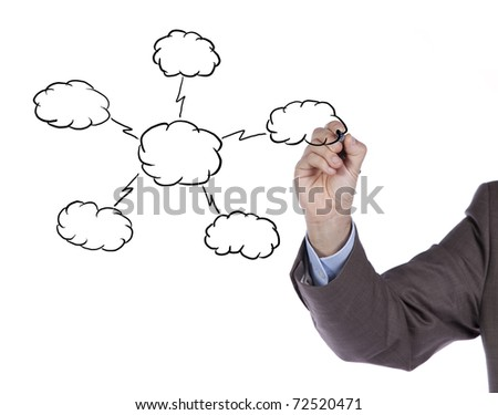 Hand drawing a Cloud Computing schema on the whiteboard (selective focus) - stock photo