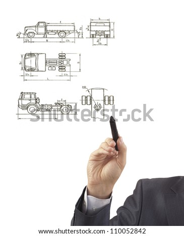 Hand drawing a engineer Vector hi-detailed semi-truck - stock photo