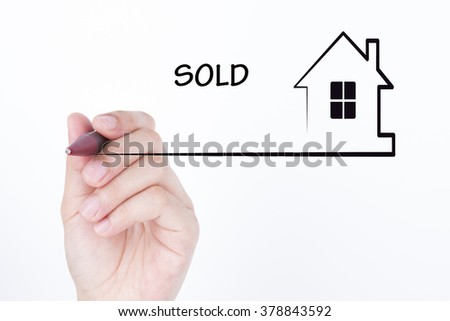 Hand drawing a house with word SOLD , financial and real estate concept - stock photo