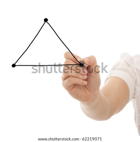 hand drawing a triangle in a whiteboard (with copy space) - stock photo