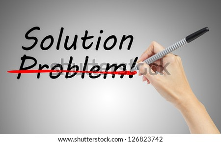 hand drawing and crossing out problem and finding the solution, business concept - stock photo