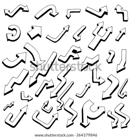 Hand drawing Art arrow collection isolated on white background - stock photo