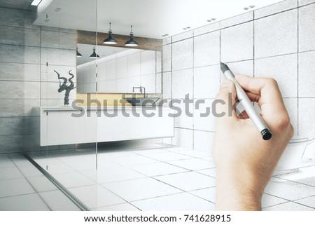 Hand Drawing Beautiful Bathroom Interior. Engineering Concept. 3D Rendering