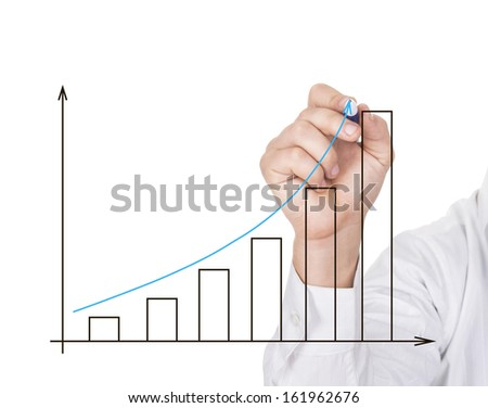 Hand drawing blue graph isolated on white background
