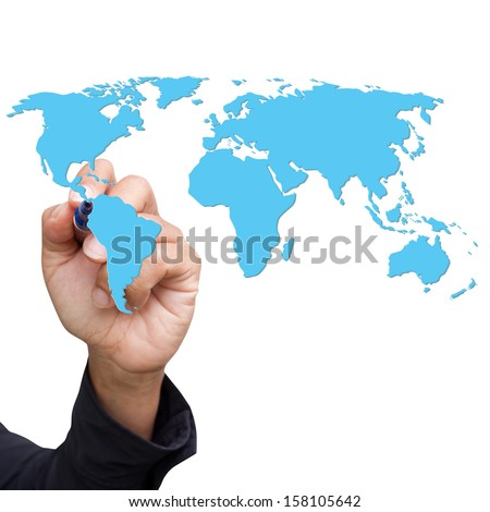 Hand drawing blue world map - stock photo