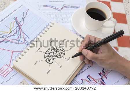 Hand Drawing Brain Idea Sketch with Coffee - stock photo