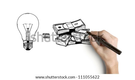 hand drawing business formula on a white background - stock photo