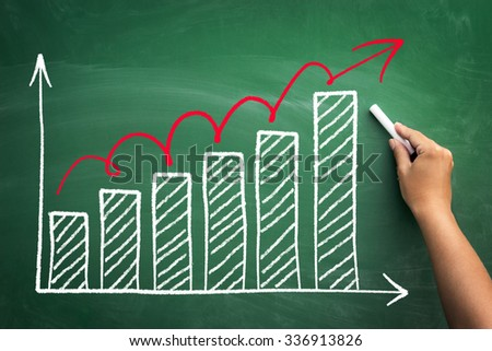 hand drawing business growth on chalkboard