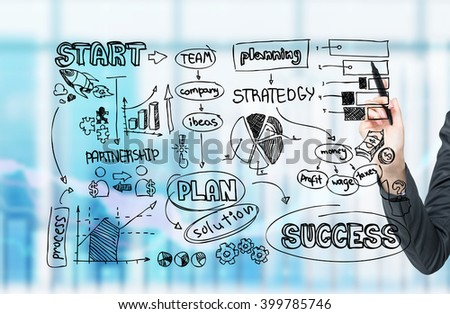 Hand drawing business scheme in front, office background. Concept of starting business.