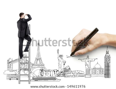 hand drawing businessman on ladder, traveling concept