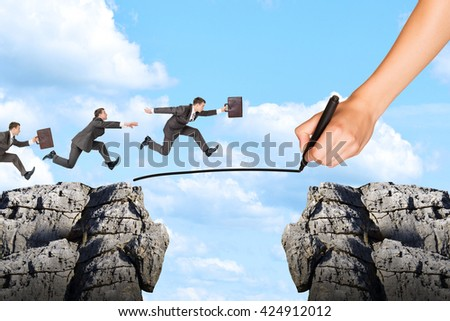 Hand drawing businessman running on rope and rock on blue sky - stock photo