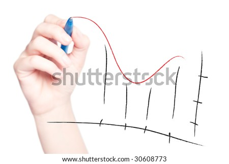 Hand drawing chart in whiteboard isolated on white - stock photo
