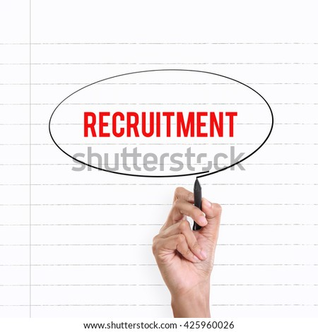 """Hand drawing circle around the note """"RECRUITMENT"""", lined book page on the background - stock photo"""