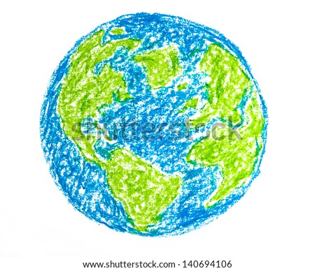 Hand drawing colorful crayon earth, isolated on white background - stock photo