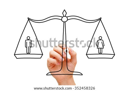 Hand drawing concept about equality between men and women. - stock photo