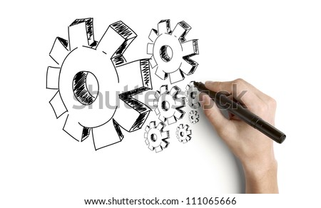 hand drawing gears on a white background - stock photo