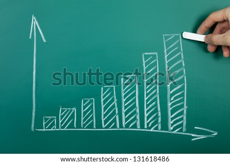 Hand drawing growth chart on green chalkboard