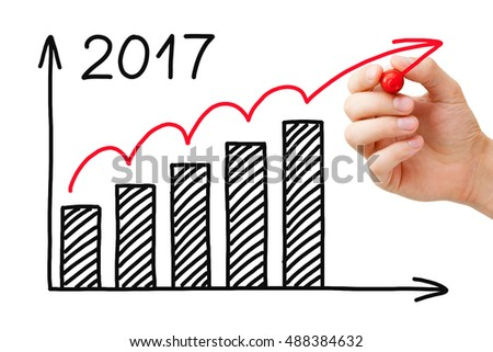 Hand drawing growth graph for year 2017 with marker on transparent wipe board.